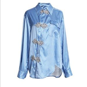 Tops - White and blue button up shirt